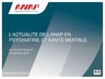 L'actualité de l'ANAP en psychiatrie et santé mentale