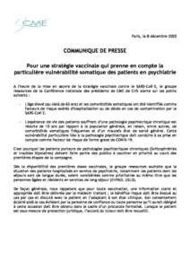 Pour une stratégie vaccinale qui prenne en compte la particulière vulnérabilité somatique des patients en psychiatrie
