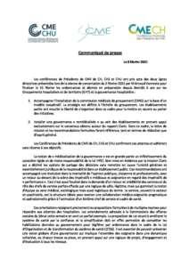 Communiqué CME 8 février 2021